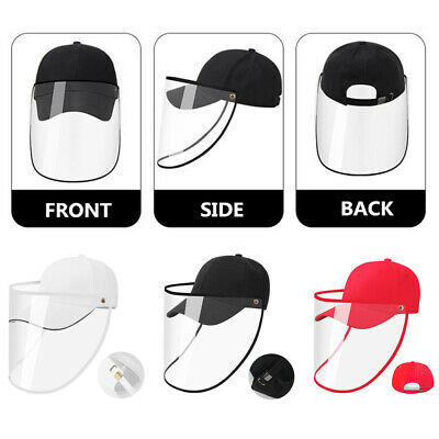 Safety Face Shield Protective Hat Detachable Baseball Cap Adjustable Unisex US