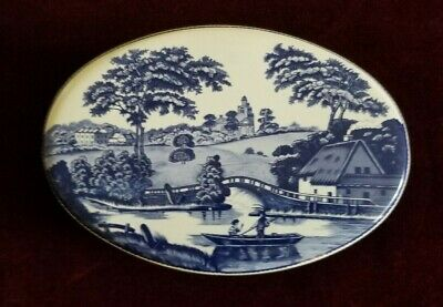 Vintage Daher Oval Blue Willow Decorative Tin, Countryside, Made In England