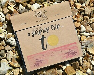 Scratch Card Surprise Trip Tropical Personalised Holiday Destination Reveal