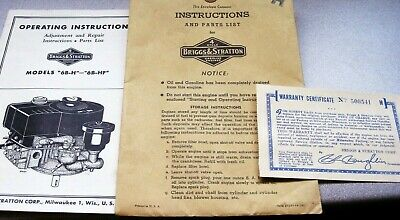 Vintage Operating Instructions Briggs & Stratton Gas Engine Repair Parts List