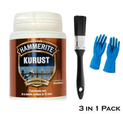 Hammerite Kurust Rust Treatment No Undercoat Required + Paint Brush & Gloves