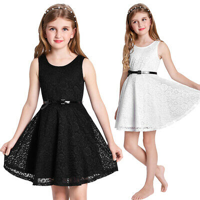 Girls Dress Sleeveless Floral Summer DB Kids A-Line Skater Belt Zipper