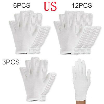 12Pairs Reusable 100% Cotton Work Gloves Mittens for Spa Hand coins inspections
