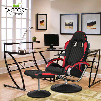 Recliner Chair Racing Style Bucket Seat PU Leather Upholstery+Footrest Ottoman
