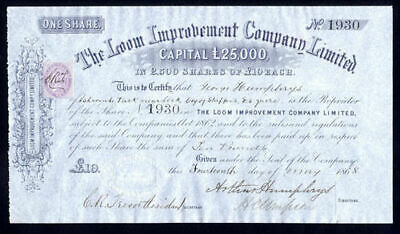 Loom Improvement Co. Ltd., £10 share, 1867, Lancashire