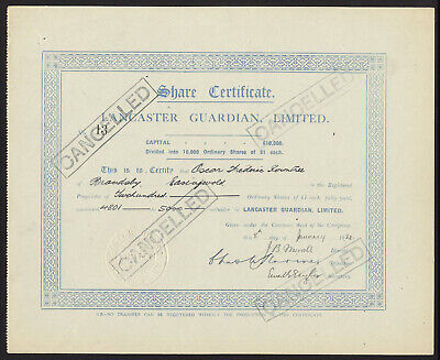 Lancaster Guardian, Ltd., ordinary £1 shares, 1921, signed by Arnold Rowntree