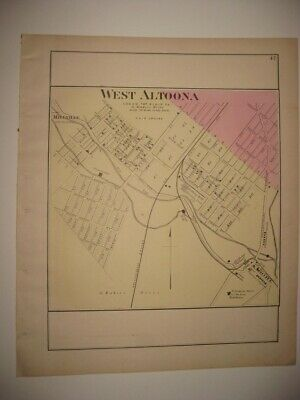 Antique 1873 West Altoona Blair County Pennsylvania Handcolored Map Superb Rare