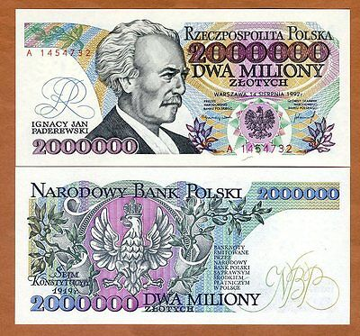 Poland, 2000000 (2,000,000) Zlotych, 1992, P-158a, UNC > Hyperinflation