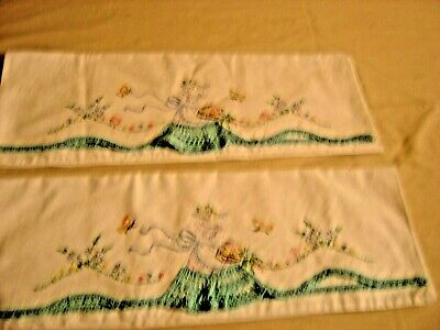 Vintage Pair Cotton Pillow Cases Crocheted & Embroidered Embroidered Lady 651