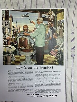 1944 WWII Vintage Airlines Of The United States Barbershop Interior Sign Ad