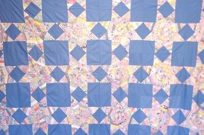 BRILLIANT ANTIQUE QUILT TOP STRING STAR TOP  ALL HAND PIECED 1940s