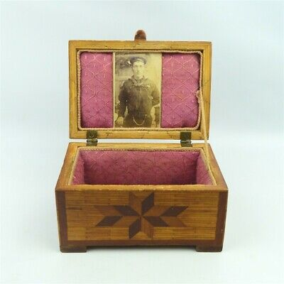 American Folk Art Handcrafted Inlaid Wood Box US Navy Sailor Photograph Antique