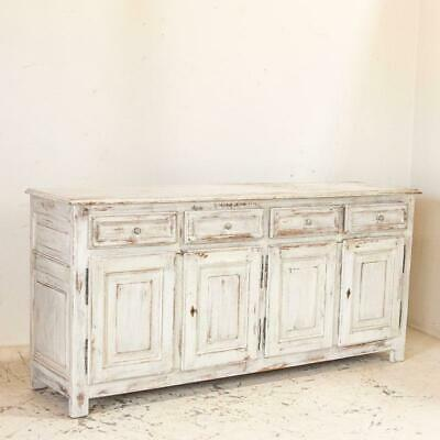 Antique Large White Painted Sideboard Buffet