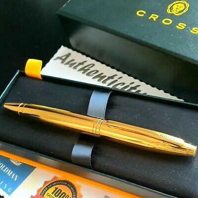 24k Gold Plated Metal Mercedes Benz Silver Ball Point Pen Twist Black Ink 24ct