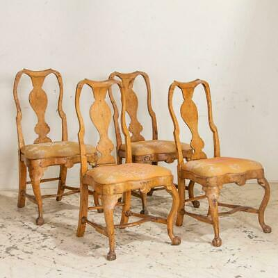 Antique Set of 4 Rococo Side Chairs Dining Chairs, Sweden