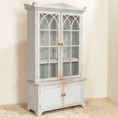 Antique White Painted Gothic Bookcase Display Cabinet from Sweden