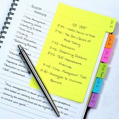 Divider Sticky Notes, Tabbed Self-Stick Lined Note Pad, 60 Ruled Notes,