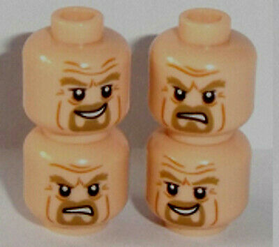 Ant Man Lego Minifig Heads x 4 Light Flesh Dual Sided Peter Parker Hoth Heads