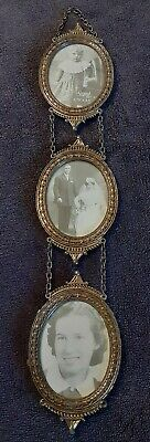 Antique Ornate Hanging Brass Picture Frame Made In Italy Oval Victorian Style