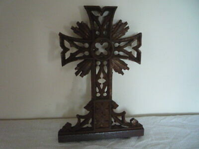 DECORATIVE RUSTIC ANTIQUE FRENCH HEAVY CAST IRON MEMORIAL CROSS ~  1800's