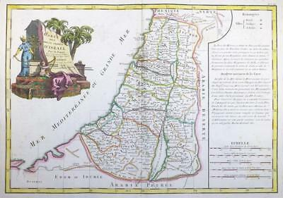 1771 - Original Antique Map of ISRAEL PALESTINE HOLY LAND 12 Tribes