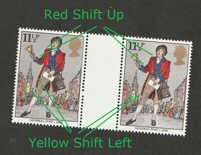 GB QEII ~ 1979 SG 1096 Gutter Pair ~ ERROR Red Shift Up & Yellow Shift ~ MNH