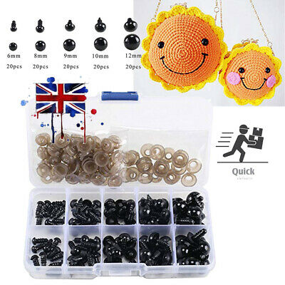 100 Plastic Safety Eyes Toys for Teddy Bear Doll Animal Making Craft DIY Screws