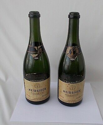 Two 1928 Empty Bottles HEIDSIECK Brut Champagne~~Hand Blown, Heavy