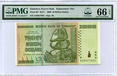 ZIMBABWE 20 BILLION DOLLARS 2008 P 86* REPLACEMENT 15th LABEL GEM UNC PMG 66 EPQ