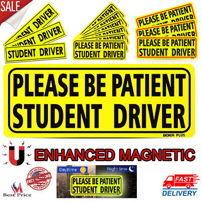 Student Reflective Vehicle Driver Bumper Magnet Car Signs Sticker In Yellow Sets