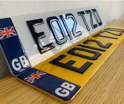 Pair Of 3D Gel GB Union Jack Number Plates Front & Rear Domed Gloss Black Legal