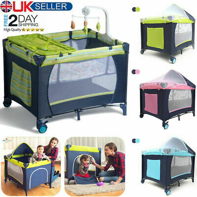 Portable Baby Travel Cot Bed Folding Kids Childrens Crib Playpen Sets Bassinet