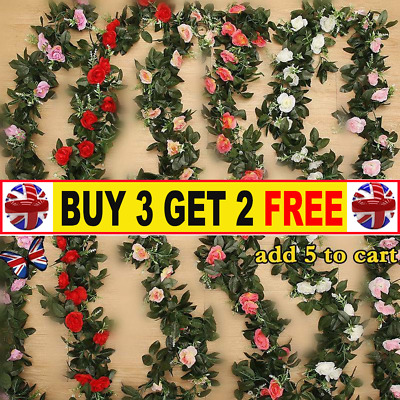 2X 8Ft Artificial Rose Garland Silk Flower String Vine HH Wedding Garden Decor