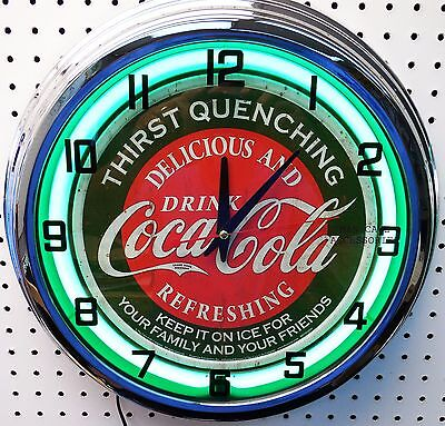 """17"""" Drink Coca-Cola Thirst Quenching Coke Sign Neon Clock"""