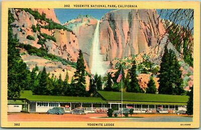 "1940s YOSEMITE NATIONAL PARK Linen Postcard ""Yosemite Lodge"" w/ Falls View"
