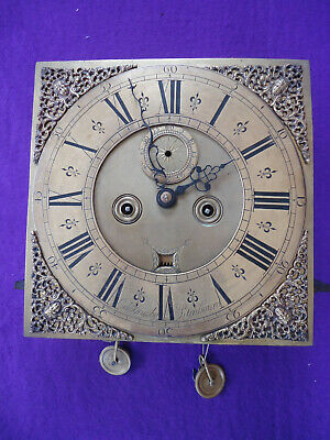 Antique Brass Dial Long Case Grandfather Movement. Spares Or Repair