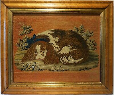 MID 19TH CENTURY NEEDLEPOINT OF A CAVALIER KING CHARLES SPANIEL - c.1860
