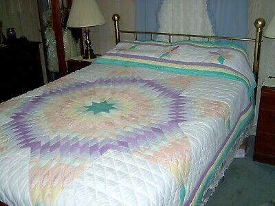 Queen/Full Hand Made Lone Star Quilt with Pillow Cover 85x86