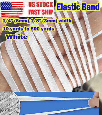 3mm 6mm width Flat Elastic Band Trim Spandex for face mask 10 yards to 500 yards