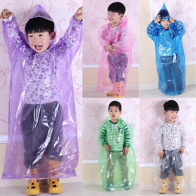 PVC Children Raincoat Disposable Waterproof Hooded Rain Coat Outerwear Poncho UK