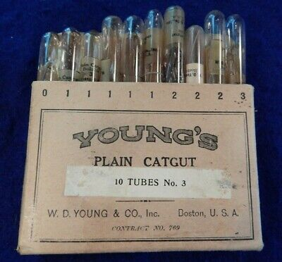 WWI U.S. Army, Medical Department, Catgut Sutures, Complete Package of TEN (10)