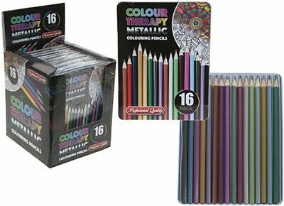 Professional Premium 16 Colouring Pencils Artists Quality Colour Therapy in Tin