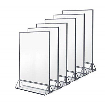 NIUBEE 6Pack 8.5x11 Clear Acrylic Sign Holder with Sliver Borders and Vertical
