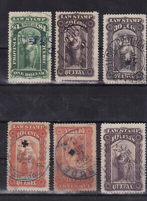 Canada used stamps quebec law revenue 1900s values to $1