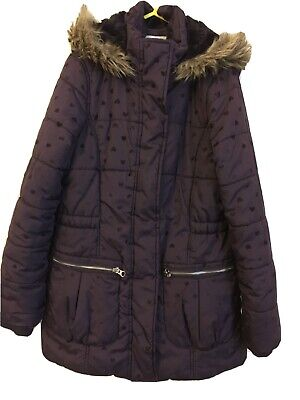 "Girls Purple (hearts)Hooded ,Quilted Coat By""Matalan"" Age 10-11yrs"