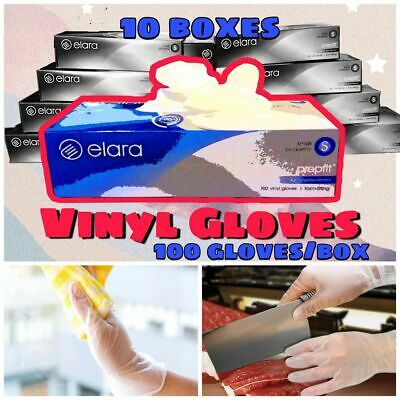 Case of Disposable Vinyl Gloves (10 Packs of 100) - Large, Lightly Powdered