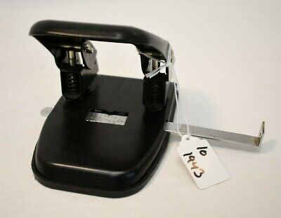 Office Depot Hand Press Paper Hole Puncher Black with Measuring Attachment