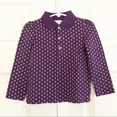 NWT Ralph Lauren Girls Long Sleeve Polo Purple With Floral Print 24M