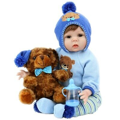 Aori Realistic Baby Doll Lifelike Reborn Baby Boy Doll 22'' with Plush Teddy