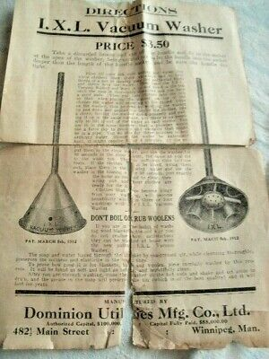 1912 PAPERS for Primitive I.X.L. Vacuum Washing Machine
